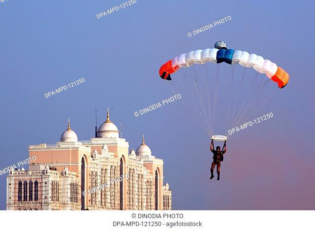 A great Aerobatics show was conducted by Sagar Pawan team of the Fly-In at  Girgaum Chowpatty ; Bombay  Mumbai ; Maharashtra ; India