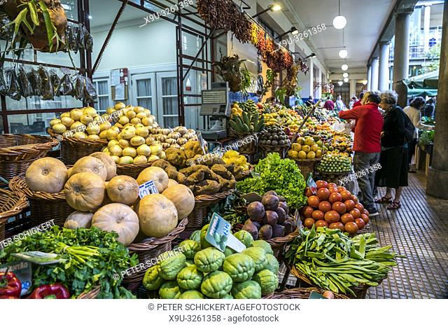 fruits and vegetable at the market hall Mercado dos Lavradores, Funchal, Madeira, Portugal, Europe