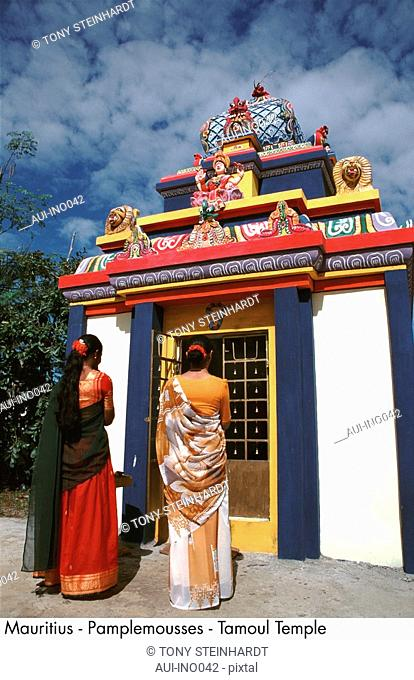 Mauritius - Tamoul Temple - Indian women - red and printed Saris