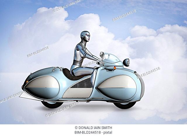 Robot woman riding futuristic motorcycle