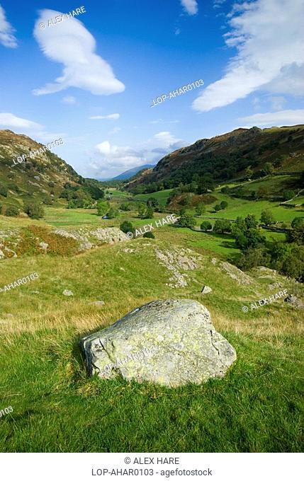 England, Cumbria, Watendlath, A view from above Watendlath Tarn towards Derwent Water and Cat Bells