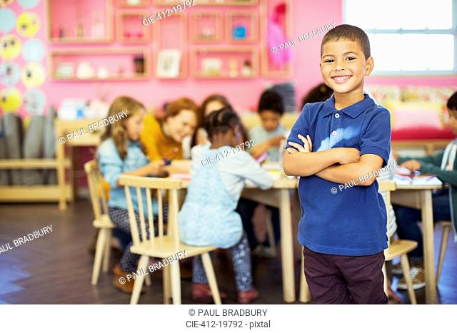 Student smiling in classroom