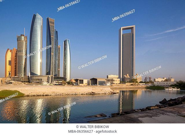 UAE, Abu Dhabi, skyline, Etihad Towers and ADNOC Tower