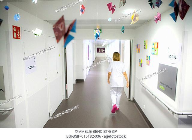 Reportage in the pediatric unit in a hospital in Haute-Savoie, France. A nurse