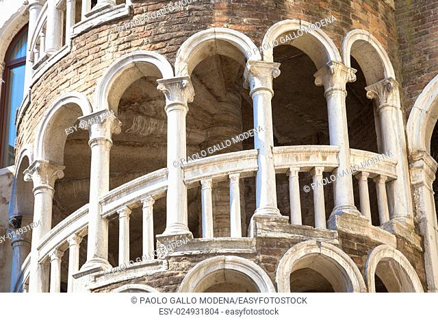 Scala Contarini del Bovolo - Venezia Italy / Detail of the Scala Contarini del Bovolo of Contarini Palace in the city of Venezia (UNESCO world heritage site)