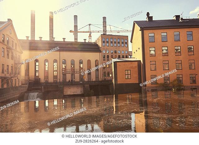 Scene from Norrkoping industrial landscape, Norrkoping, Ostergotland, Sweden, Scandinavia
