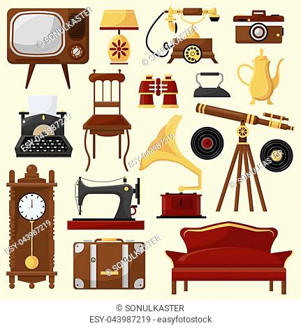 Set of vintage home furniture and accessories. Retro interior: chair, sofa, lamp and clock. Antique collection. Vector illustrations isolated on white...