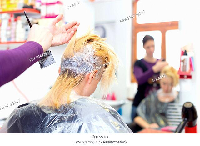 Hairdresser salon. Hair colouring in process. Beautiful young woman dyeing hairs