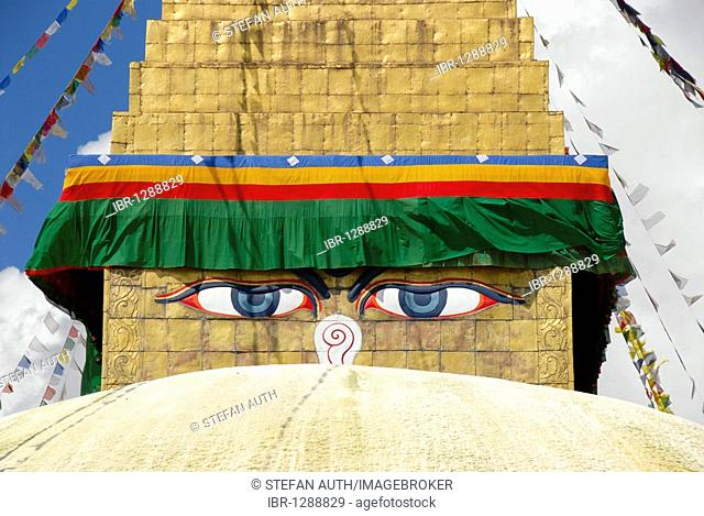 UNESCO World Heritage Site, Tibetan Buddhism, architecture, Bodhnath Stupa, Boudhanath, Boudha, two eyes looking down, pair of eyes, Kathmandu, Nepal, Himalaya