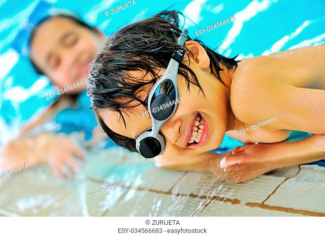 Beautiful kids in pool