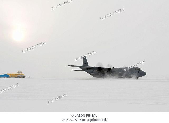 A Canadian Air Force Lockheed Hercules aircraft in Iqaluit, Nunavut, Canada