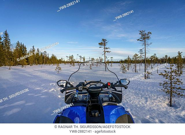 Snowmobile, Kangos, Lapland, Sweden. Kangos is a locality situated in Pajala Municipality, Norrbotten County, Swedish Lapland