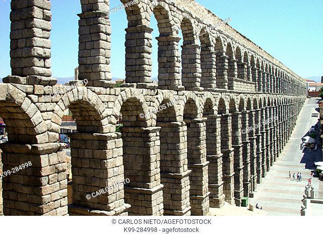 Roman aqueduct. Segovia. Spain