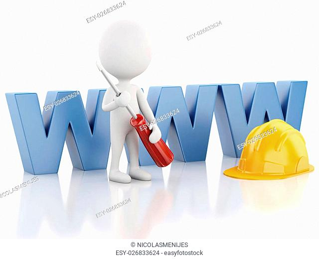 3d white people with tools. Website under construction concept. Isolated white background