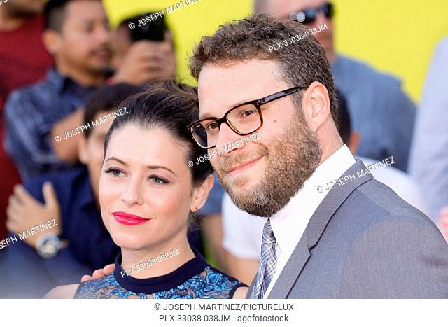 Lauren Miller and Seth Rogen at the World Premiere of Columbia Pictures' and AnnaPurna Pictures' Sausage Party held at the Regency Village Theatre in Westwood