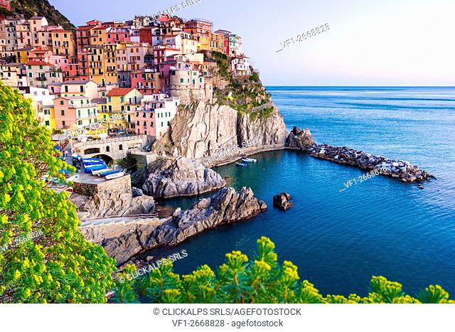 Manarola, Cinque Terre, Liguria, Italy. Sunset over the town, view from a vantage point
