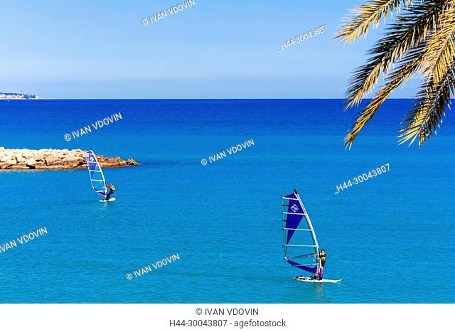 Windserfers, Menton, Alpes-Maritimes department, Provence-Alpes-Cote d'Azur, French Riviera, France
