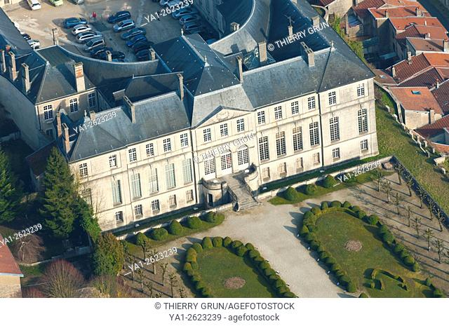 France, Meuse (55), Verdun town, Episcopal palace housing Worldewide Center of Peace (aerial view)
