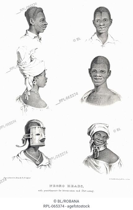 Negro heads, 'Negro heads with punishments for intoxication and dirt-eating'. There are representations of two of the 'various tribes of the west coast of...