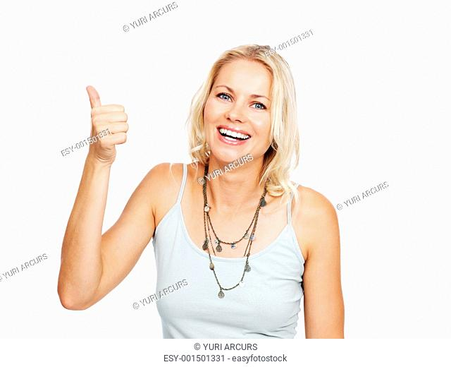 Portrait of a friendly young woman gesture a thumbs up sign over white background