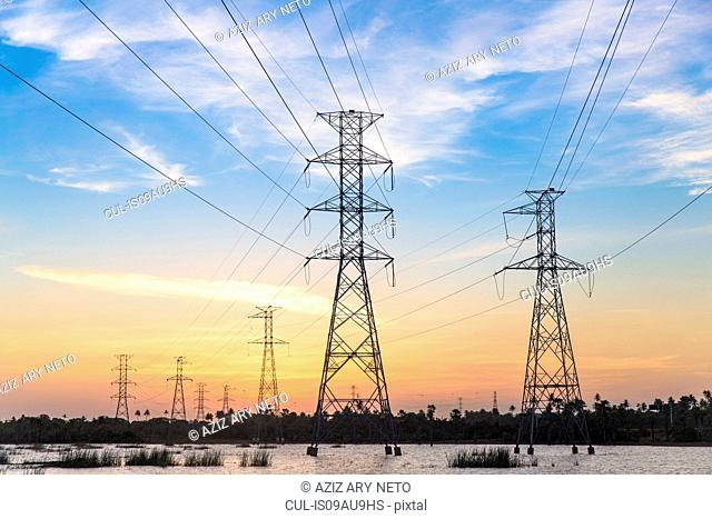 Electricity pylons in waterlogged field at sunset, Taiba, Ceara, Brazil