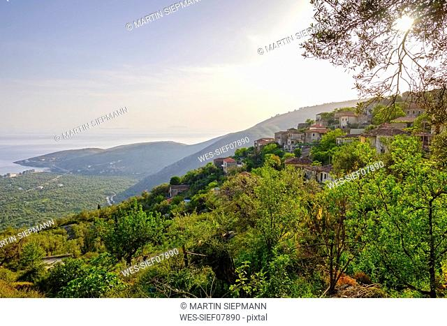 Albania, Vlore County, near Himara, View from mountain village Qeparo