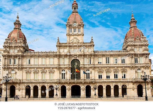 City Hall, La Coruna, Region of Galicia, Spain, Europe