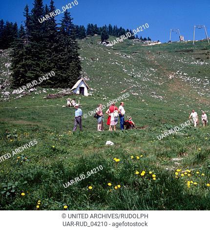 Wandern in Bayern, Deutschland 1980er Jahre. Hiking in Bavaria, Germany 1980s