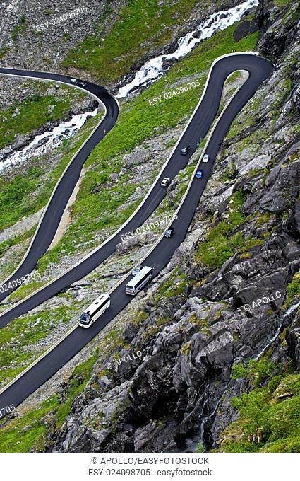 Narrow serpentines of the Trollstigen mountain, Norway