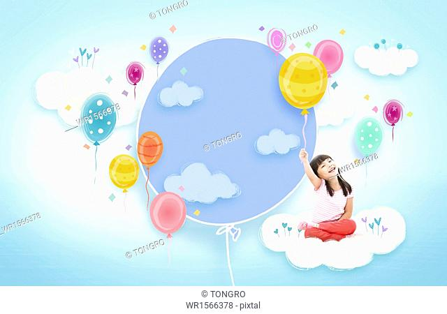 a template with a copy space and a girl with balloons