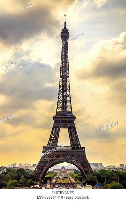 Eiffel Tower landmark, view from Trocadero. Paris cityscape. France, Europe