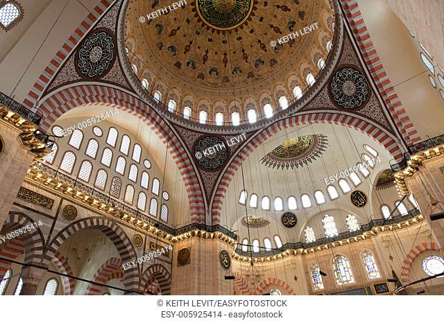 Architectural details of the dome at Suleymaniye Mosque, Third Hill, Istanbul, Turkey