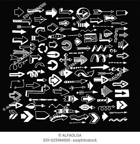 Arrows on a black background. More than 100 characters. The white elements on a black background