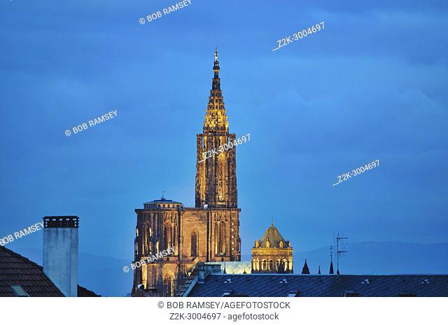 View on the Strasbourg Cathedral early in the morning at blue hour time