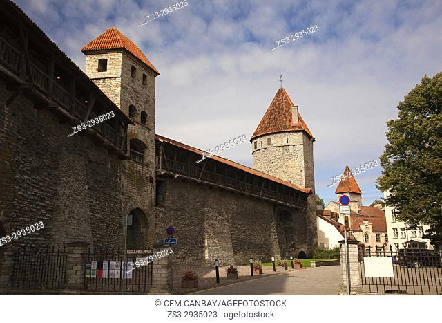 View to the Monastery Gate, ancient city walls and towers called Sauna and Kuldjala in the old town,Tallinn, Estonia, Baltic States, Europe