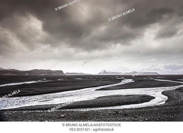 Múlakvísl glacier river in Mýrdalssandur outwash plain (region of Sudurland, Iceland)