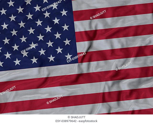 Closeup of ruffled United States of America flag, Ruffled flag Background, Fabric ruffled flag