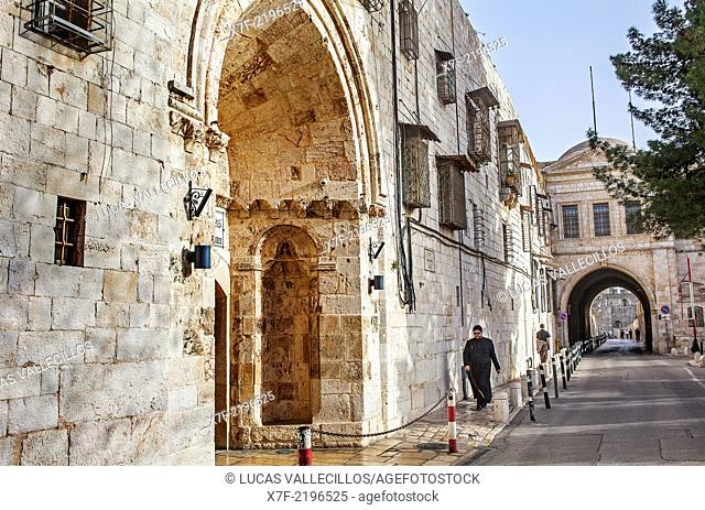 The Armenian Patriarchate street, at left the Armenian Orthodox St. James Cathedral, Armenian Quarter, Old City, Jerusalem, Israel