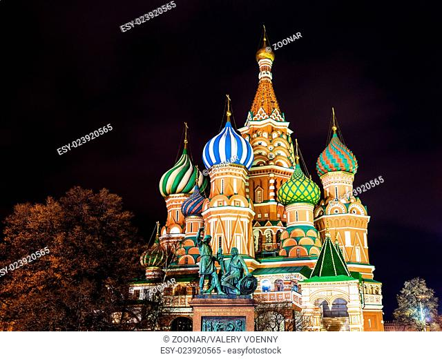 Pokrovsky Cathedral in Moscow in night