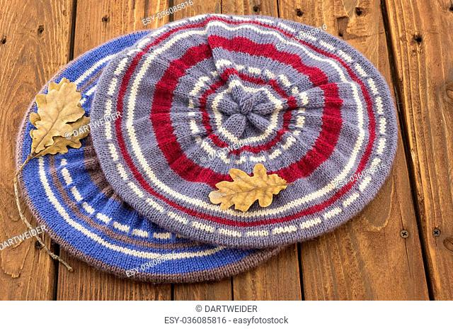 The two knitted colorful berets