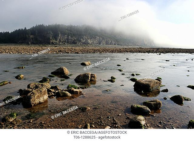 Upper Salmon river at outgoing tide and sunrise, Bay of Fundy shores at Alma, New Brunswick, Canada