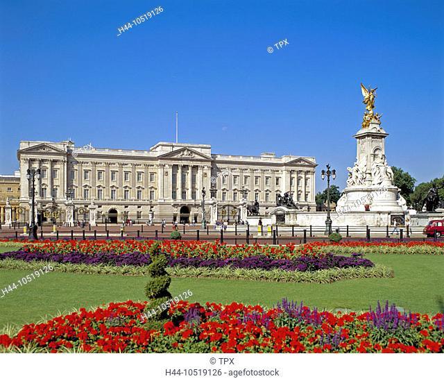 10519126, England, Great Britain, Europe, London, Royal Life, Buckingham Palace, outside, flowerbeds