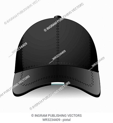 Modern sports or baseball cap in black with advert space