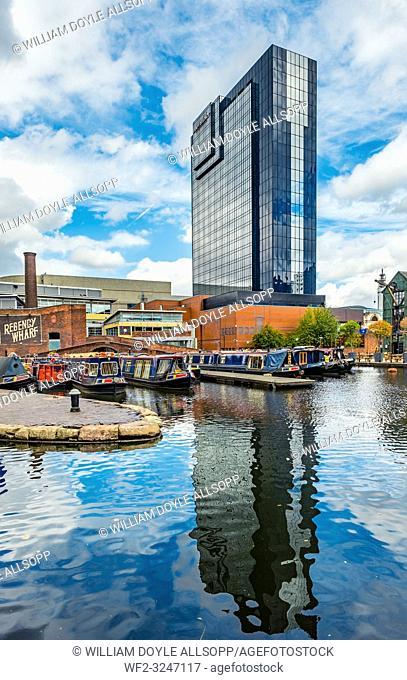 The Hyatt Regency towers over Regency Wharf and Gas Street Basin in central Birmingham