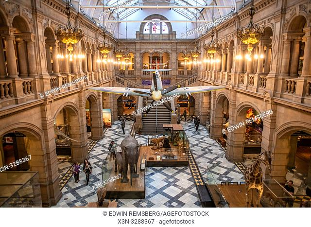 The lobby at the Kelvingrove Museum in Glasgow, Scotland