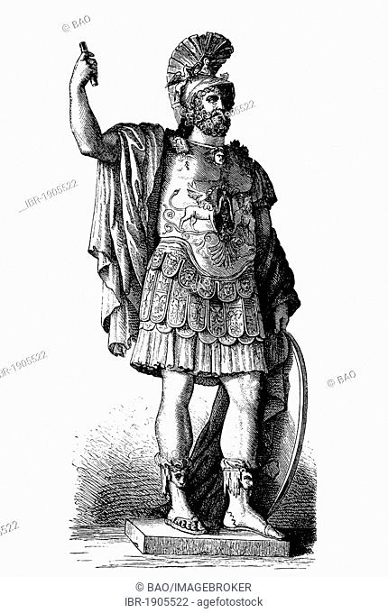 Statue of Pyrrhus, Capitoline Museums, Rome, Italy, woodcut from 1880