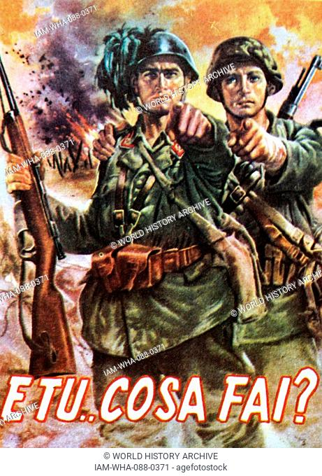 Propaganda poster published by the Departmento Historica Militar during the Second World War depicting two soldiers pointing. Dated 20th Century