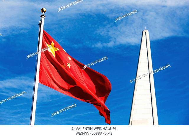 USA, California, San Francisco, Chinatown, Flag of China, Transamerica Pyramid