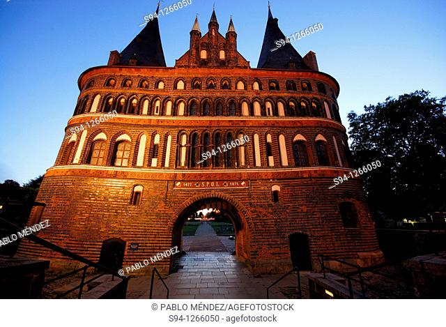 Holstentor door in Lübeck, Schleswig-Holstein, Germany