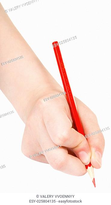 hand draws by red pencil isolated on white background